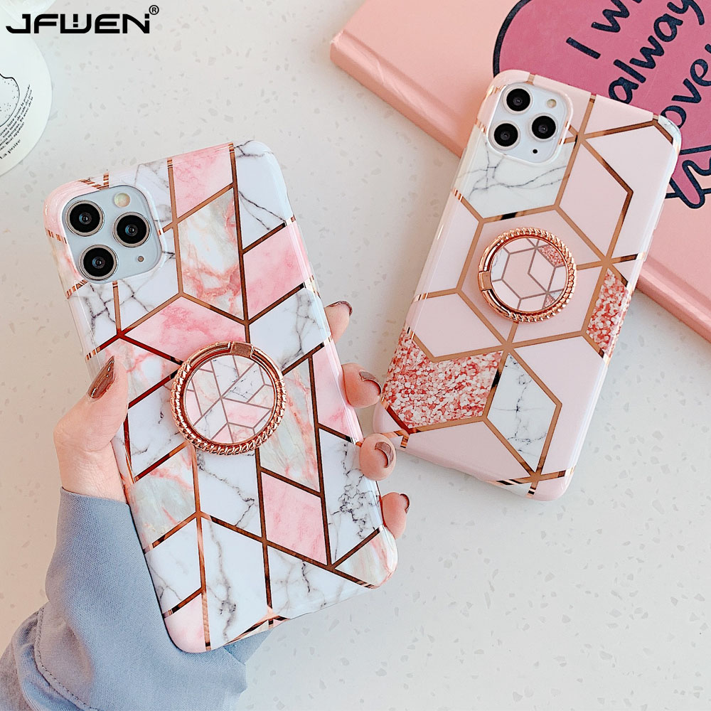 Finger Ring Holder Marble Phone Case For iphone 11 12 Pro 8 7 X XR XS Max 6S 6 Plus SE 2020 Case Cover Silicone Back Shell