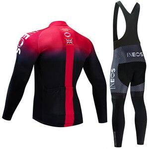 Image 2 - INEOS Conjunto de Ropa de Ciclismo para hombre conjunto de JERSEY y pantalones térmicos de lana profesional, Maillot de bicicleta para invierno, 2020