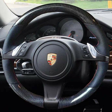 5D Carbon Fiber&Hole Leather Steering Wheel Hand Sewing Wrap Cover Fit For Porsche Cayenne / Panamera 2010-2011