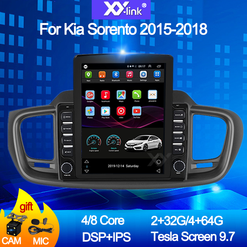 Android 10.0 9.7 tesla style screen car radio for Kia Sorento 2015-2018 Multimedia DVD player autoradio stereo audio no 2 din image