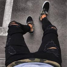 Мода мужские крутые дизайнерские черные рваные скинни джинсы потрепанные потертые тонкие крой джинсовые брюки молния хоп хоп брюки отверстия для мужчин