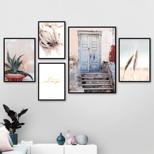 Door Flower Wheat Cactus Rural Landscape Wall Art Canvas Painting Nordic Posters And Prints Wall Pictures For Living Room Decor cactus coconut leaves quote wall art canvas painting nordic posters and prints landscape wall pictures for living room decor