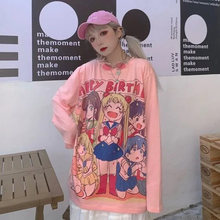 INS Cute Cartoon Sweet Girls T-shirt Japanese Streetwear Harajuku Pink Kawaii Casual Tops Vintage Loose Summer Women T-shirt Top