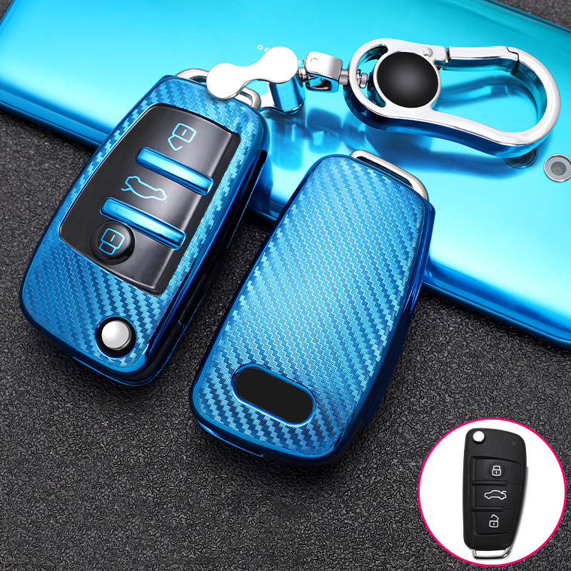 Auto Car Styling Soft TPU Key Case For Audi A1 A3 A4 A5 Q7 A6 C5 C6 A5 Q5 8V Car Holder Shell Remote Cover Car-Styling keychain