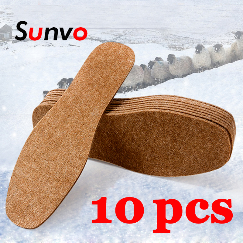 10PCS Winter Felt Insoles Unisex Washable Thermal Thickened Warm Shoes Pads Soft Comfortable Wool Snow Boots Inserts Shoe Soles