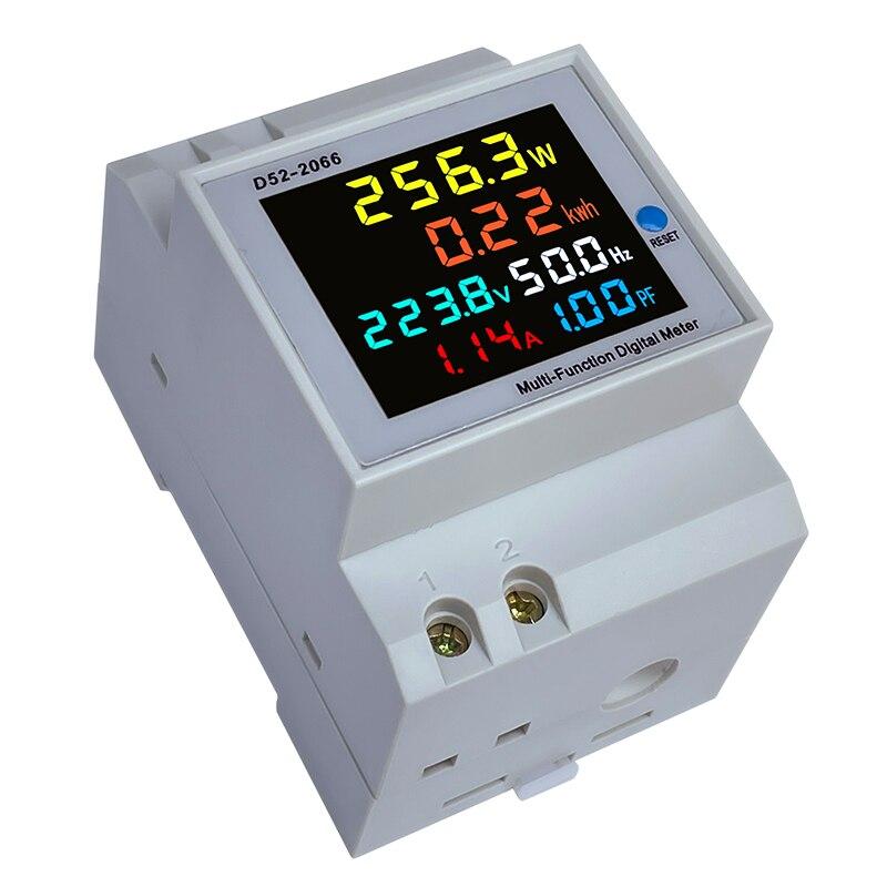 Din Rail AC 220V 110V 40 ~ 300V 100A цифровой амперметр Мощность энергии Вольтметр Амперметр вольт ватт кВтч частоты Мощность измеритель коэффициента мощ...