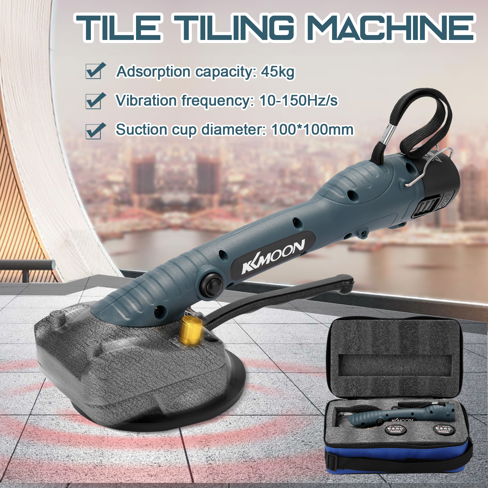10-150Hz Tile Tiling Machine Wall Floor Tiles Laying Vibrating Tool With 100*100mm Suction Cup 10 Gears Of Frequency Adjustable