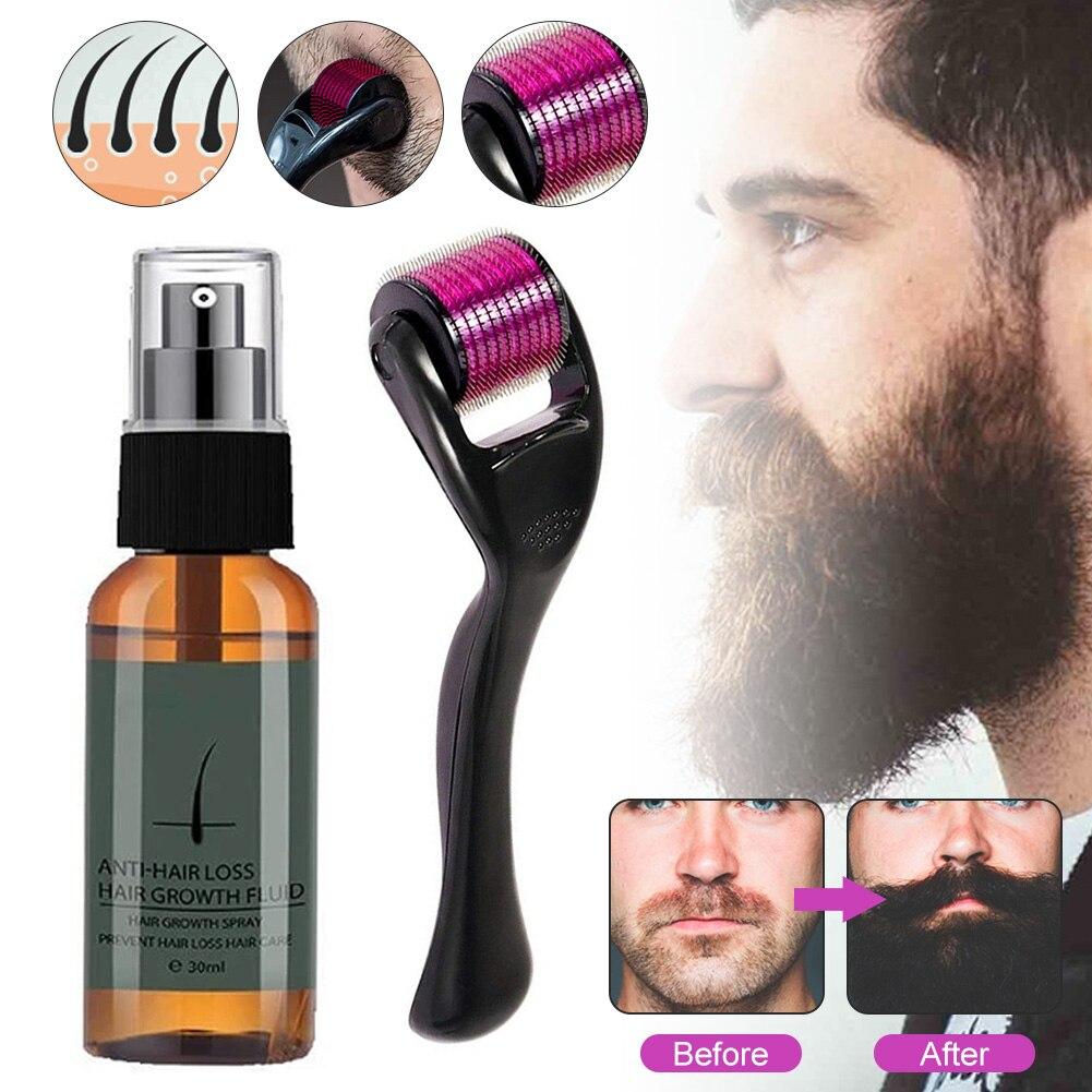 Natural Men Beard Growth Roller Kit Men's Beard Growth Oil Nourishing Enhancer Beard Oil Spray Anti Hair Loss With Beard Roller