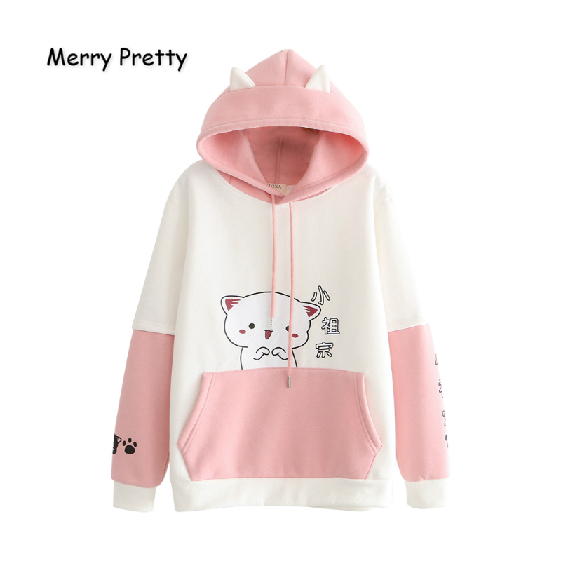 MERRY PRETTY Women's Hooded Sweatshirts Cartoon Cat Print Funny Hoodies Winter Plus Velvet Pullovers Femme Drawstring Tracksuit