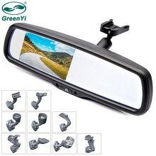 GreenYi 4.3 calowy Monitor TFT LCD lusterko wsteczne samochodu ze specjalnym oryginalnym uchwytem 2 wejście wideo do wspomagania parkowania