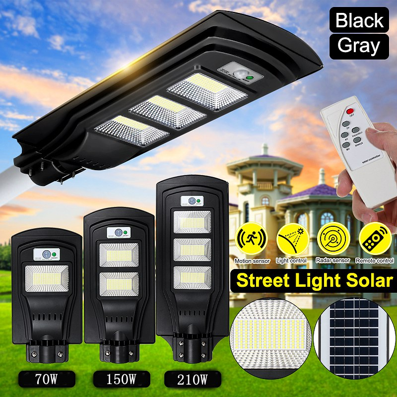 70W 150W 210W Sensor Solar Panel Wall Street Light PIR Motion Lamp Waterproof IP67 50mm Mounting Pole For Outdoor Lighting