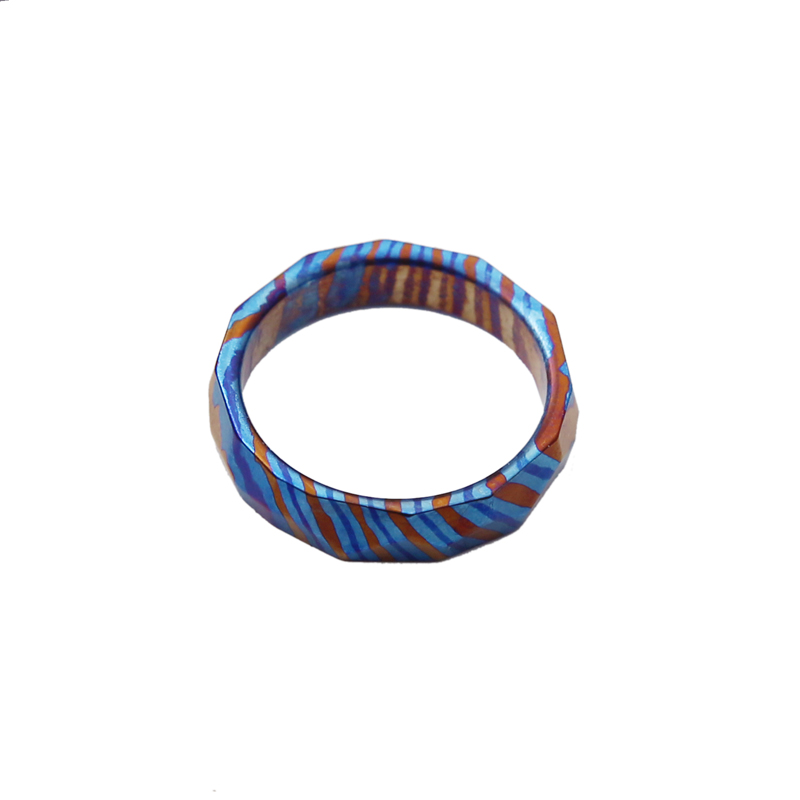 A205 Damascus Titanium Alloy Ring MOKUTI Tricolor Damascus Titanium Alloy Necklace Pendant High-end Decoration EDC Small Pendant