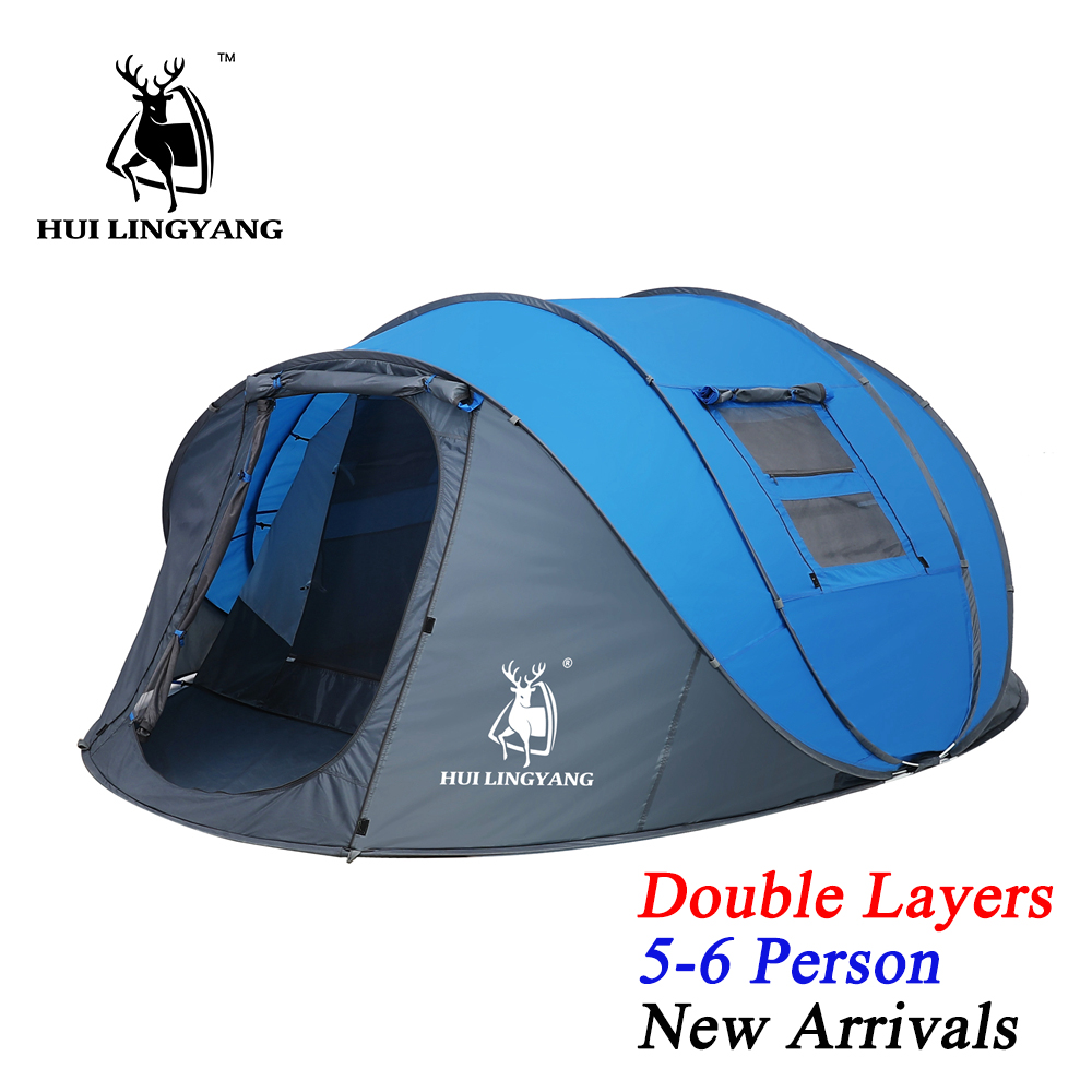 HUI LINGYANG Throw Pop Up Tent 5-6 Person Outdoor Automatic Tents Double Layers Large Family Tent Waterproof Camping Hiking Tent image