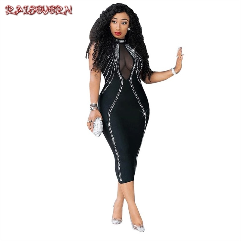 Fashion Brand Newest Women Mesh Sheer Bodycon Long Party Clubwear Sequined Mid Calf <font><b>Dress</b></font> <font><b>Transparent</b></font> <font><b>Sexy</b></font> Stand Neck <font><b>Dresses</b></font> image