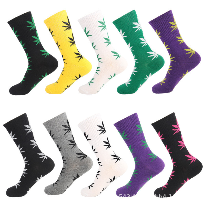 Happy Socks Men Comfort High Quality Combed Cotton Funny Maple Leaves Printed Calcetines Casual Harajuku Long Crew Socks
