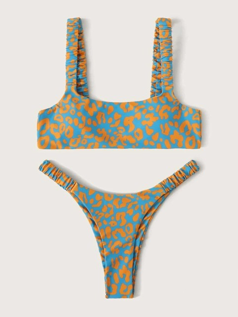 Sexy Micro Bikini Women Orange Leopard Push Up Padded Thong Swimsuit Female Cut Out Bathing Suit Swimwear Trajes De Bano