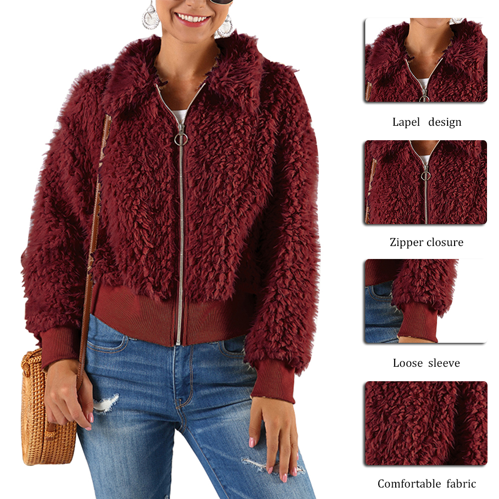 HEFLASHOR Women's Plush coat autumn winter Women Button Jacket Casual Warm turndown collar fur Outwear Mid-Length Woolen jackets 24