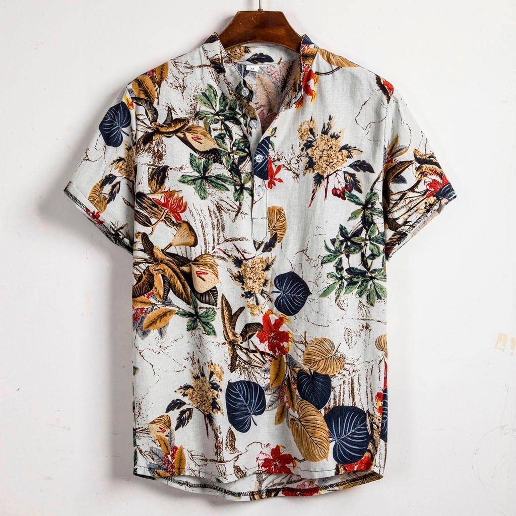 Fashion Mens Ethnic Short Sleeve Casual Cotton Linen Printing Hawaiian Shirt High Quality Men's Clothing Streetwear Hot 2019