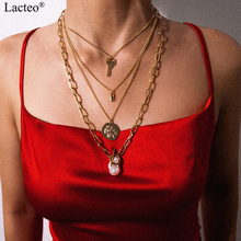 Lacteo Punk Exaggerated Imitation Pearl Pendant Necklace Fashion Multi Layer Lock Key Carved Coins Choker Women Jewelry