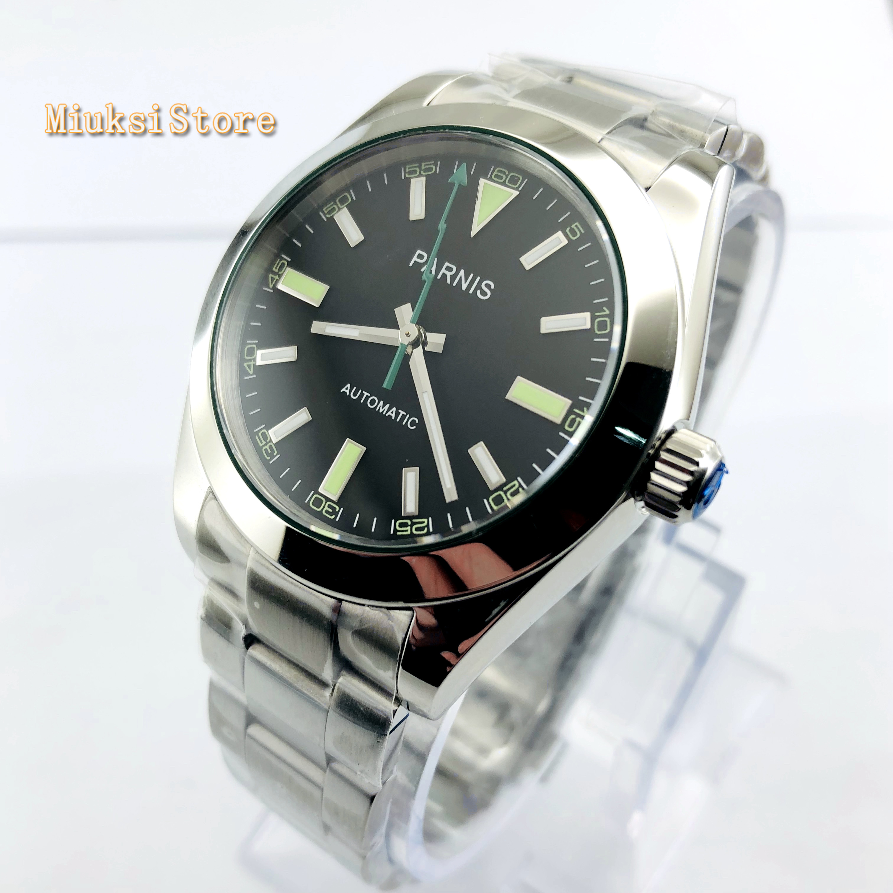 parnis 40mm men's top luxury watches black dial sapphire glass  luminous automatic mens stainless steel mechanical watch