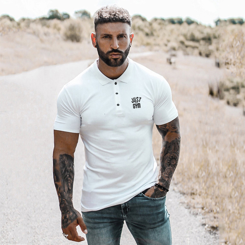 New Fashion Brand Polo Shirt Men's Summer Turn Collar Slim Fit Solid Color Button Breathable Polos Sports Men Gym Clothing