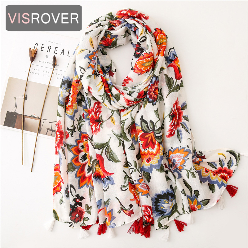 VISROVER 2020 Fashion Spring Summer Flower Printing Viscose Scarf With Tassel Fashion Wraps Shawls Summer Beach Hijab Wholesales