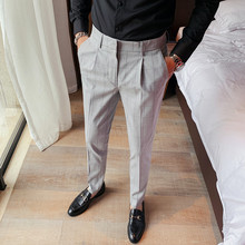 British Style Quality Gentlemen Slim Fit Casual Plaid Pants Men Clothes 2020 All Match Business Formal Wear Office Trousers 36