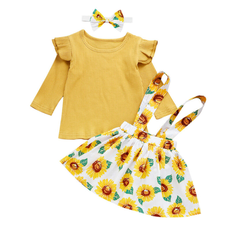 Newborn Baby Girl Clothes Knitted Long Sleeve Tops T shirt Sunflower <font><b>Bib</b></font> <font><b>Skirt</b></font> Headband Outfits Set image