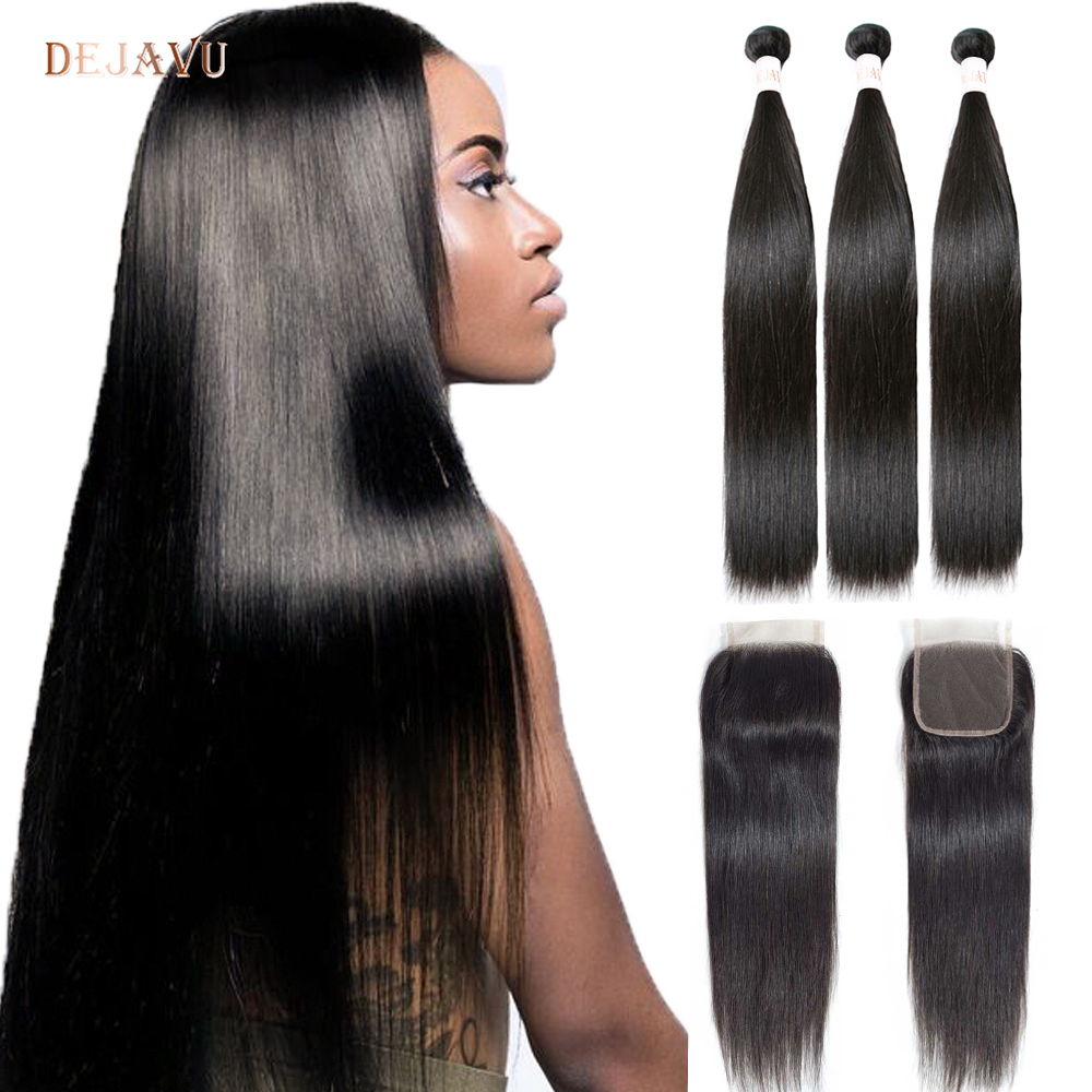 DEJAVU Straight Hair Bundles With Closure Peruvian Hair Bundles With Closure Non-Remy Human Hair Bundles Hair Extension Cabelo