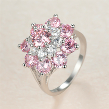 Luxury Female Pink Crystal Stone Ring Charm Silver Color Big Wedding Rings For Women Dainty Flower Zircon Engagement Ring