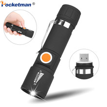 Tail USB Flashlight Portable Zoom LED Torch Waterproof Flashlight Zoom Torch of 3 Modes with Built-in Battery for Camping(China)