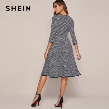 SHEIN Black And White Houndstooth Elegant Dress Without Belt Women 2020 Spring 3/4 Length Sleeve Ladies A Line Midi Dresses 1