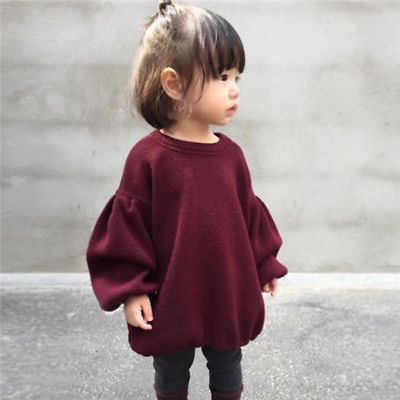 Cute Fall Winter Toddler Baby Long Lantern Sleeves Sweater Tops Kids Girls Pullover Warm Soft Outfits Coats Clothes For Age 1-6Y