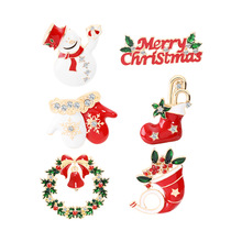 Christmas Brooch Cartoon Alloy Snowman Sock Gloves Enamel Pins for Clothes Backpack Xmas Jewelry Decoration Badge Women Men