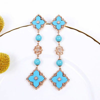 CMajor Sterling Silver Fashion Trendy Elegant Turquoise Clover Long Dangle 925 Silver Earrings For Women Valentine's Day gift