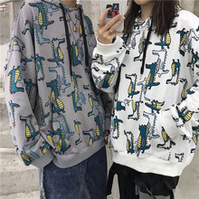 UYUK2019 Autumn Korean Version Of Harajuku Style Loose Casual Dinosaur Print Hooded Pullover Students  Hoodies Streetwear
