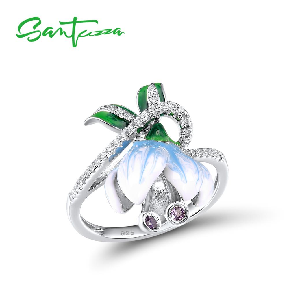 SANTUZZA Silver Rings For Women Genuine 925 Sterling Silver Exquisite White Blooming Flower Fine Jewelry Handmade Enamel