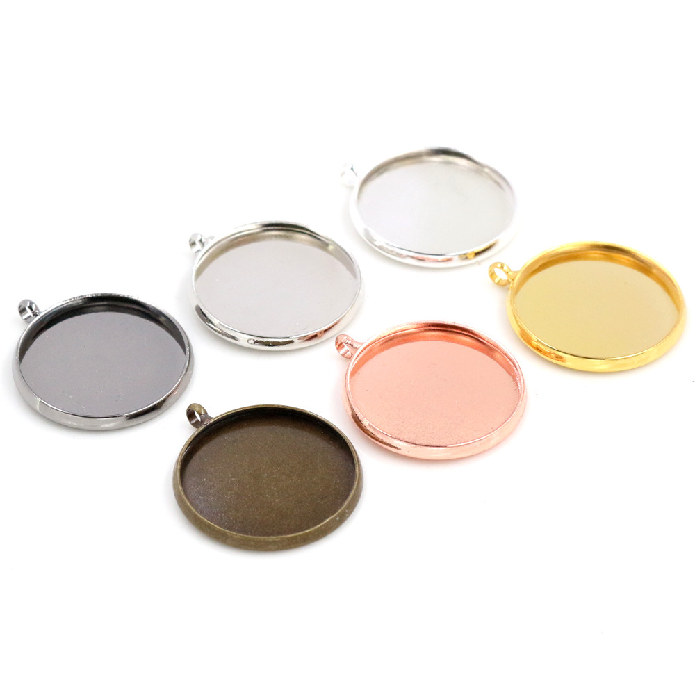 10pcs 20mm Inner Size 6 Colors Plated Classic Style Brass Metal Cabochon Base Setting Charms Pendant Tray