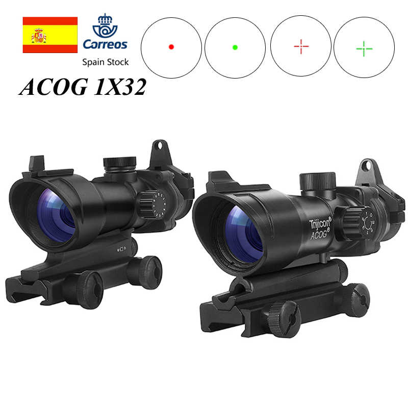Trijicon ACOG 1X32 Red Dot Sight Optik Senapan Lingkup ACOG Red Dot Lingkup Berburu Lingkup dengan 20Mm Rel untuk airsoft Gun