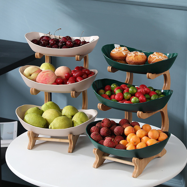 2/3 Tiers Plastic Fruit Plates With Wood Holder Oval Serving Bowls for Party Food Server Display Stand Fruit Candy Dish Shelves