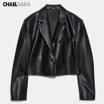 2020 Spring Autumn Women Black Faux Leather Jacket Casual Single Button Biker Short PU Jackets Coat Female Outwear