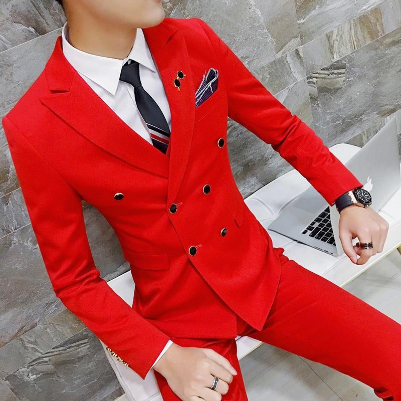 Blazer + Pant  / 2020 Royal Men's Suit Groom Tuxedo Slim Fit 2-Pack Fashion Double-Breasted Pure Color Classic Men's Suit Hommes