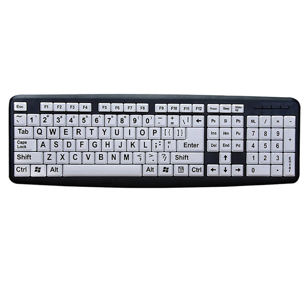 Black Letters Keyboard Desktop Easy Operate USB Interface White Keys Wired Home Eye Protection Computer Old Men Durable ABS Mute|Keyboards| |  - title=