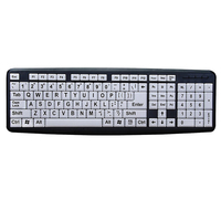Black Letters Keyboard Desktop Easy Operate USB Interface White Keys Wired Home Eye Protection Computer Old Men Durable ABS Mute|Keyboards| |  -
