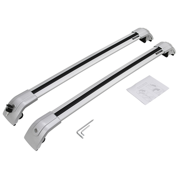 Supply 2PCS SUV Car Aluminum Alloy Side Bars Cross Rails Roof Rack Luggage Carrier Crossbar Fit For No Gap Between Rail And Roof image