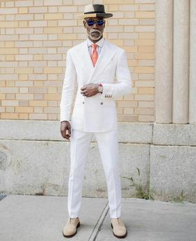 Modne męskie smokingi ślubne biała plaża klapa zamknięta dwurzędowa kurtka pana młodego projektant formalne na imprezę bal Wear (kurtka + spodnie tanie i dobre opinie NCDIMS POLIESTER Groom wear REGULAR Mieszkanie guzik DWURZĘDOWE Kostiumowy