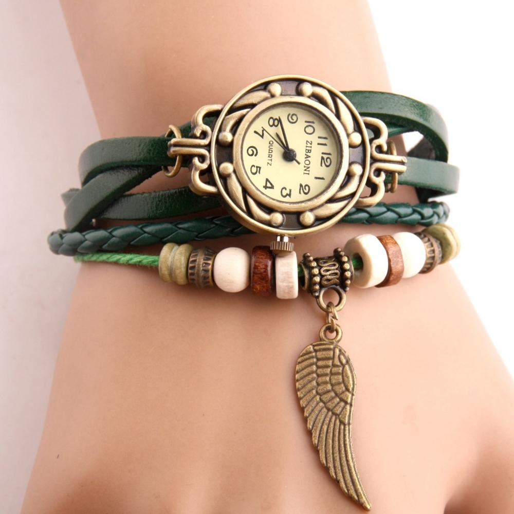Vintage Women Watches Imitation Leather Wooden Beads Wing Sculpture Watch Casual Wrist Watch Relogio Feminino Watch Women
