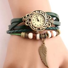 Vintage Women Watches Imitation Leather Wooden Beads Wing Sc