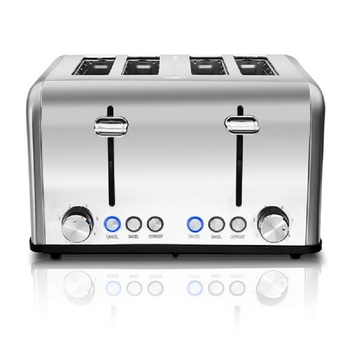 Home Full Automatic Toaster Bakery Toaster 4 Slices Slot Extra Wide Slot Toaster Stainless Steel Bread Toaster for Breakfast 4