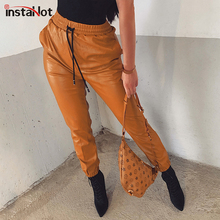 InstaHot Faux Leather Harem pants  Elastic Drawstring Waist Tapered Carrot Trouser Casual High Street Pants Women Loose Vintage casual drawstring elastic waist loose harem pants for women